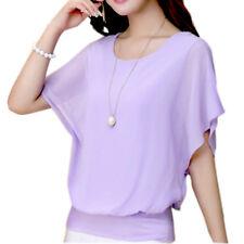 Fashion Women Ladies Summer Loose Casual Chiffon Short Sleeve Shirt Tops Blouse