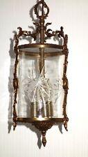 Antik  Französische Messing-Kristallglas Kronleuchter, Lüster 3 Flammig