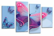 Large Abstract Pink Grey Blue Butterfly Canvas Wall Art Picture Multi 4 Panel