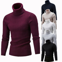 Men Winter Warm Slim Knitted High Neck Sweater Pullover Jumper Casual Turtleneck
