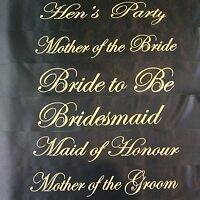 HENS NIGHT BRIDAL PARTY SASH BRIDE BRIDESMAID MAID OF HONOUR SASHES - BLACK GOLD