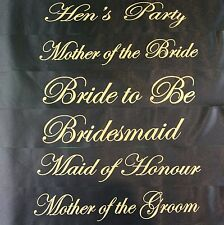 HENS NIGHT BRIDAL PARTY SASH BRIDE BRIDESMAID MAID OF HONOUR SASHES - BLACK GOLD