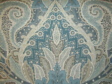 Schumacher CAMBAY PAISLEY PRINT 100% Linen Fabric Remnant 2 + Yards Azure Blue