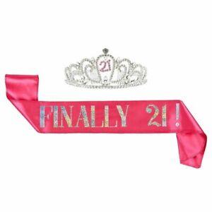 "2pcs Set of 21st Birthday ""Finally 21!"" Girl Sash and Crown Tiara Decorations"