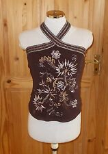 NEXT brown tulle chiffon silver bead floral embroidered halter neck top 12 40
