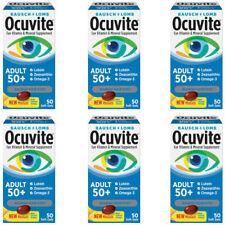 6 Pack Bausch + Lomb Ocuvite Adulto 50 + ajuda a proteger a saúde dos olhos, 50 Soft Géis Ea