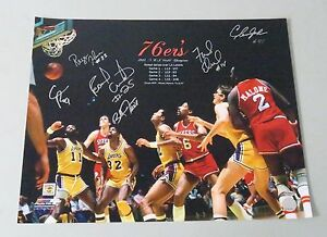 010507 1983-84 NBA Champs 76ers Multi Signed 16x20 Photo 5 AUTO 's LEAF COA