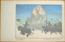 Sphinx, Egypt 1905 Silhouette Postcard: 'Les Croises' - Color Litho
