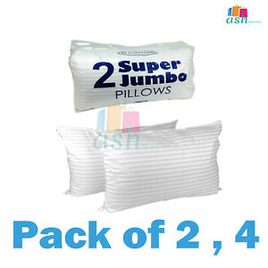 2x,4x Luxury Deluxe Bounce Back Super Jumbo Pillows Stripe Extra Filled UK
