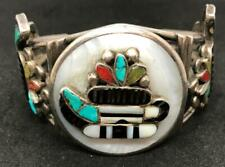 Native American Zuri Cuff Bracelet with Turquoise, Coral, and Mother of Pearl