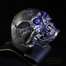 Lovely SKULL Ring Sapphire SIZE 14 Sterling Silver Harley Masonic Handmade Biker