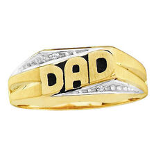 10K Yellow Gold 0.01ctw Diamond Mens Dad Ring