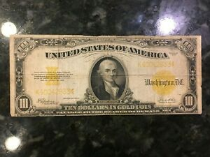 USA  10 Dollars -- Gold Certificate  1922