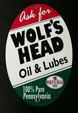 Wolf's Head Oil Gas Oval sign . Gasoline
