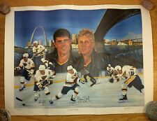 BRETT HULL & ADAM OATES Signed NHL Lithograph Print 1991 Numbered ST LOUIS BLUES