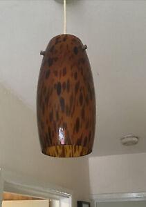 "Vintage Glass Leopard Print Lightshade 23.5cm 9.5"" Brown Glass Ceiling Shade"