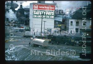 Original Slide U.S. Steel  ALCO S2 70 & Y&N ALCO S2 221 Youngstown OH 1969