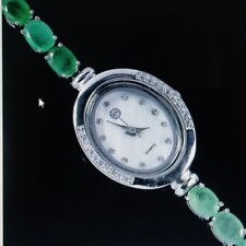 "BEAUTIFUL 925 STERLING SILVER WATCH WITH GENUINE AAA EMERALD & ZIRCONIA 7"" INCHE"