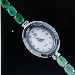 """BEAUTIFUL 925 STERLING SILVER WATCH WITH GENUINE AAA EMERALD & ZIRCONIA 7"""" INCHE"""