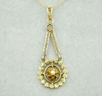 10k Yellow and Rose Gold Victorian Pearl Lavaliere Pendant (#J4445)