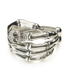 Silver Tone Skeleton Hand and Skull with Clear Rhinestones Hinged Bangle