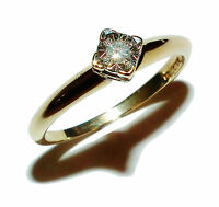 Fully Hallmarked 9ct Yellow Gold & Illusion Set Diamond Solitaire Ring (Size L½)