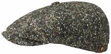 STETSON Bakerboy Cap Hat Hatteras Donegal Black Green 415 Virgin Wool New