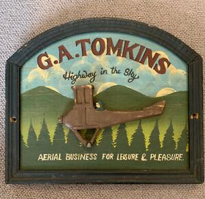 Vintage Advertising Sign. Wood. G A Tomkins Aeroplane Sky Travel