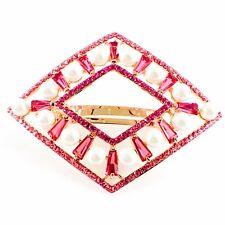 USA PEARL BARRETTE use Swarovski Crystal Hair Clip Hairpin Elegant Pink SW14