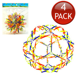 4 x EXPANDABLE SPHERE TOY COLOURFUL STRETCHING SHRINKING BALLS KIDS TOYS NOVELTY
