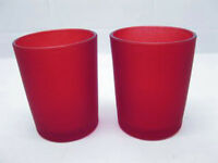 12 Red Frosted Glass Tea Light Candle Holders Wedding Event Party Chinese Party