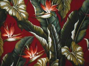 PAIR 82x52 Tropical Hawaiian Cotton Barkcloth Fabric Drapes ~Bird Paradise-Burg~