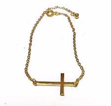 Gold Plated Cross Bracelet Designer Inspired Sideways Cross Bracelet