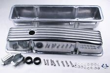 For Sbc Small Block Chevy 350 Polished Aluminum Finned Tall Valve Covers