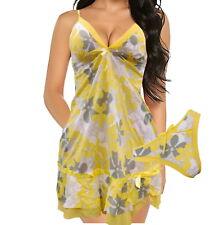 Sexy Lingerie Sleepwear Stretchy Babydoll set Bodysuit Nightwear Yellow Flowers
