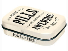 Retro Tin Metal Pill Box 'AWESOME PILLS' with Mints 6x4cm 'These are making me'