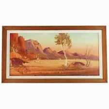 Vintage Framed Oil Painting, Australian Central Outback Landscape, Henk Guth