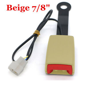 """Car Safety Seat Belt Buckle Socket Plug Connector with Warning Cable 7/8"""" Beige"""