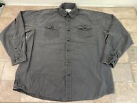 Vintage Wrangler Mens XL Gray Long Sleeve Button Front Shirt Solid
