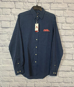 Antigua Ole Miss Long Sleeve Collegiate Blue Button Up Shirt Mens Small Striped