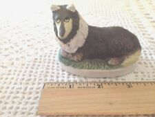 3 Small Black and White Ceramic Collie Figurines, Free Shipping