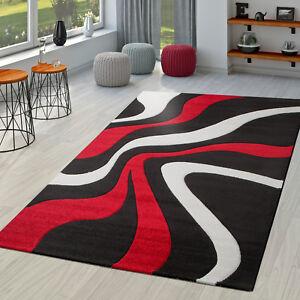 Teppich Rot Schwarz Weiß Wohnzimmer Teppiche Modern mit Konturenschnitt