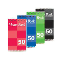 """4Pk Spiral Memo Pad Books Narrow Lined Note Books 3"""" x 5"""" & 50 Sheets Pages Each"""