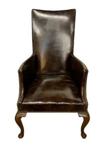 Antique Brown Leather with Nailheads Mahogany Wingback Arm Chair Armchair