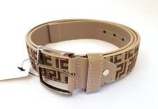 Cinta Cintura Uomo Pelle Tessuto Beige ND-865 Elegante Glamour Fashion hac