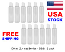 3.4 oz 100ml Empty Travel Bottles Cosmetic Gel Refillable Container Set Disc Top