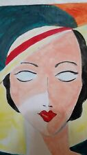 Art Deco Lady by Rodster 11X14-Original Acrylic Canvas - Fauvism