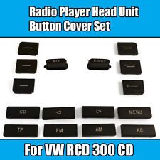 16 Piece Button Cover Set For Vw Head Unit RCD 300 CD Radio Player Black Plastic