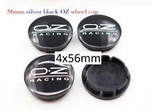 4x 56mm OZ Racing Schwarz - Silber Emblem Nabenkappen Nabendeckel Logo
