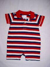 EUC Ralph Lauren Boys Red White & Blue Striped Polo Shortall Romper 6 Months